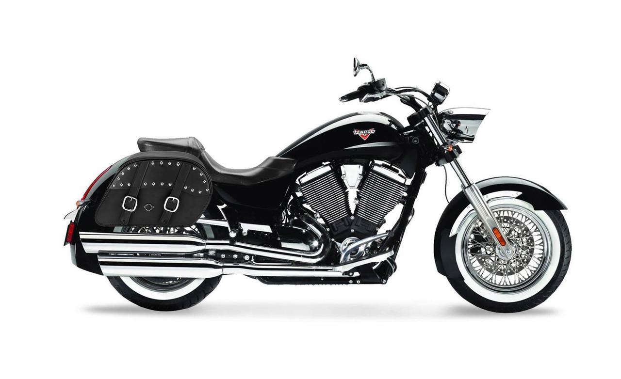 VikingBags Char Vital Medium Double Strap Studded Victory Boardwalk Leather Motorcycle Saddlebags Bag on Bike View