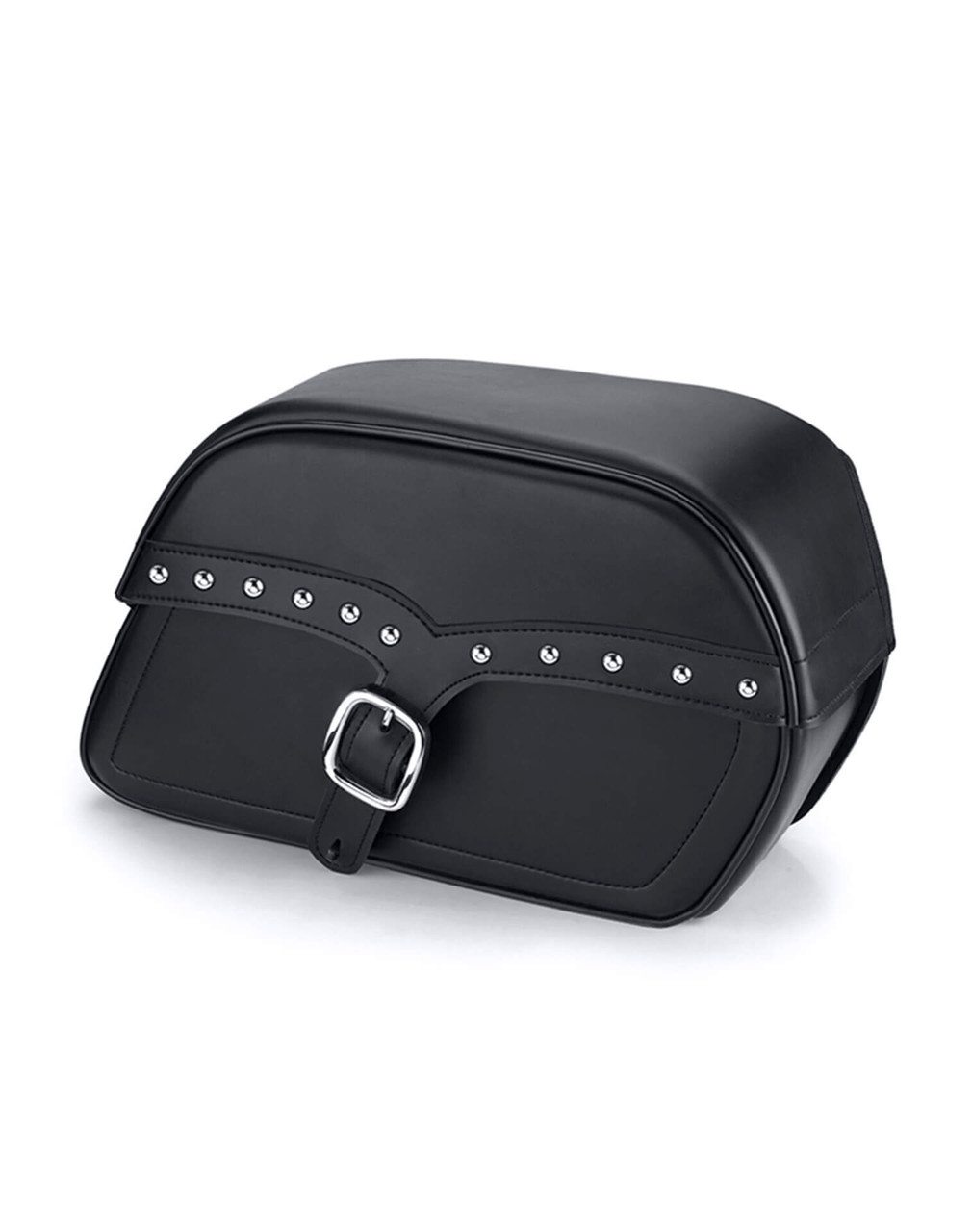 VikingBags Char SS Medium Single Strap Studded Victory Boardwalk Leather Motorcycle Saddlebags Main View