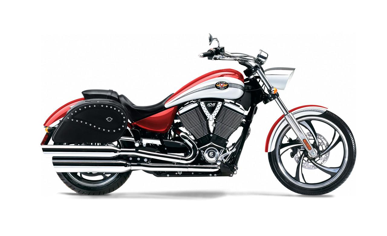 Victory Vegas Large Ultimate Shape Studded Motorcycle Saddlebags Bag on Bike View