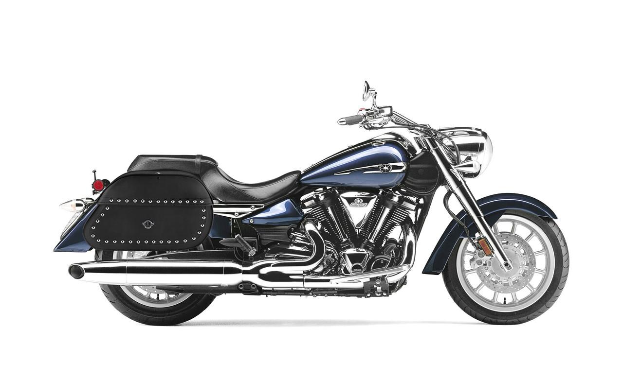 Yamaha Startoliner XV 1900 Extra Large Hammer Series Studded Motorcycle Saddlebags Bag on Bike View