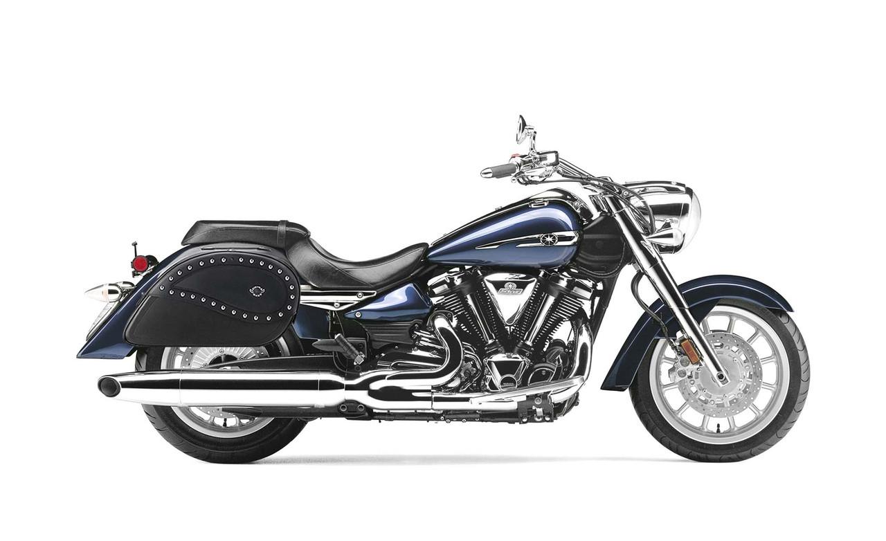 Yamaha Startoliner XV 1900 Large Ultimate Shape Studded Motorcycle Saddlebags Bag on Bike View