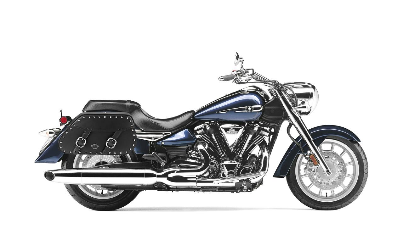 Yamaha Startoliner XV 1900 Pinnacle Studded Motorcycle Saddlebags Bag on Bike View