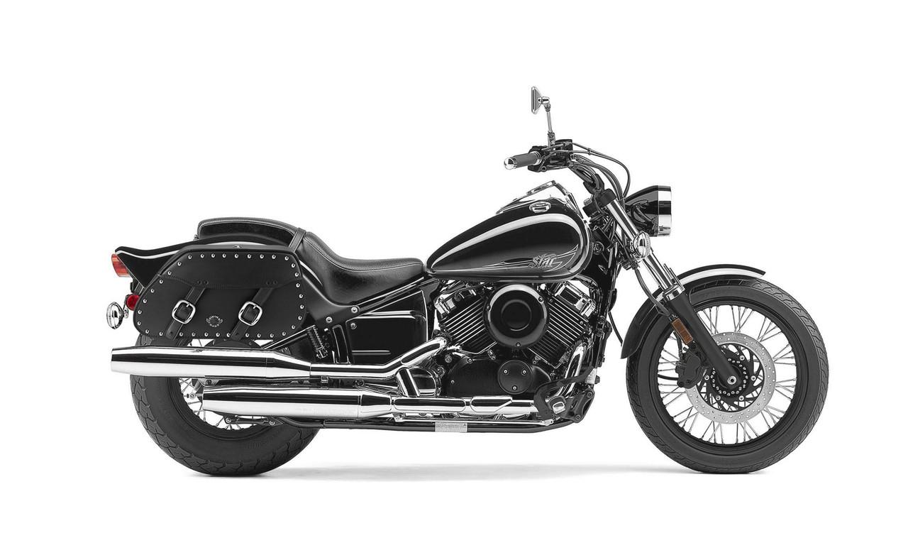 Yamaha V Star 650 Custom Pinnacle Studded Motorcycle Saddlebags Bag on Bike View