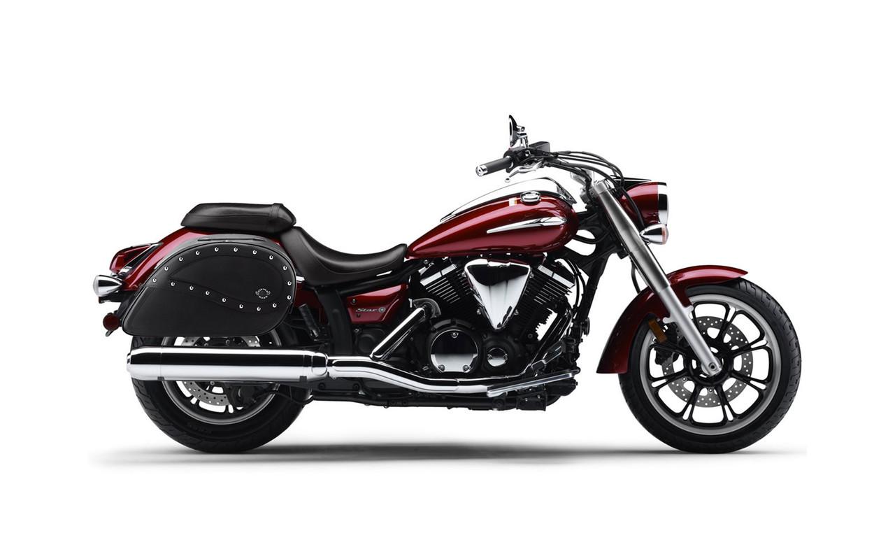 Yamaha V Star 950 Large Ultimate Shape Studded Motorcycle Saddlebags Bag on Bike View