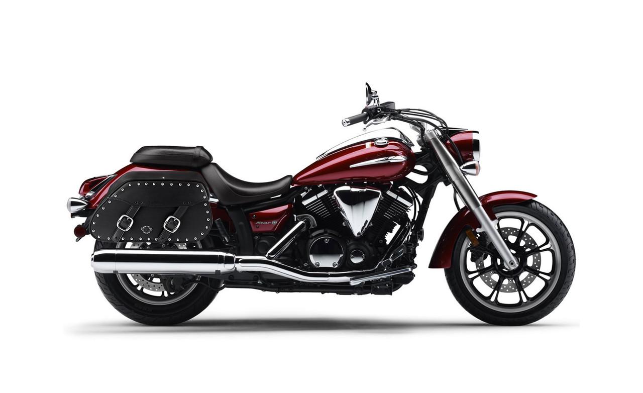 Yamaha V Star 950 Pinnacle Studded Motorcycle Saddlebags Bag on Bike View
