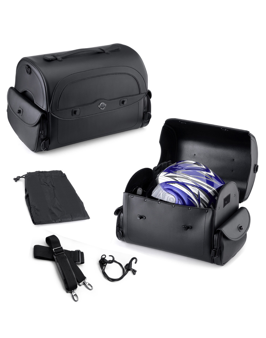 Viking Warrior Motorcycle Trunk 2400 Cubic Inches Straps