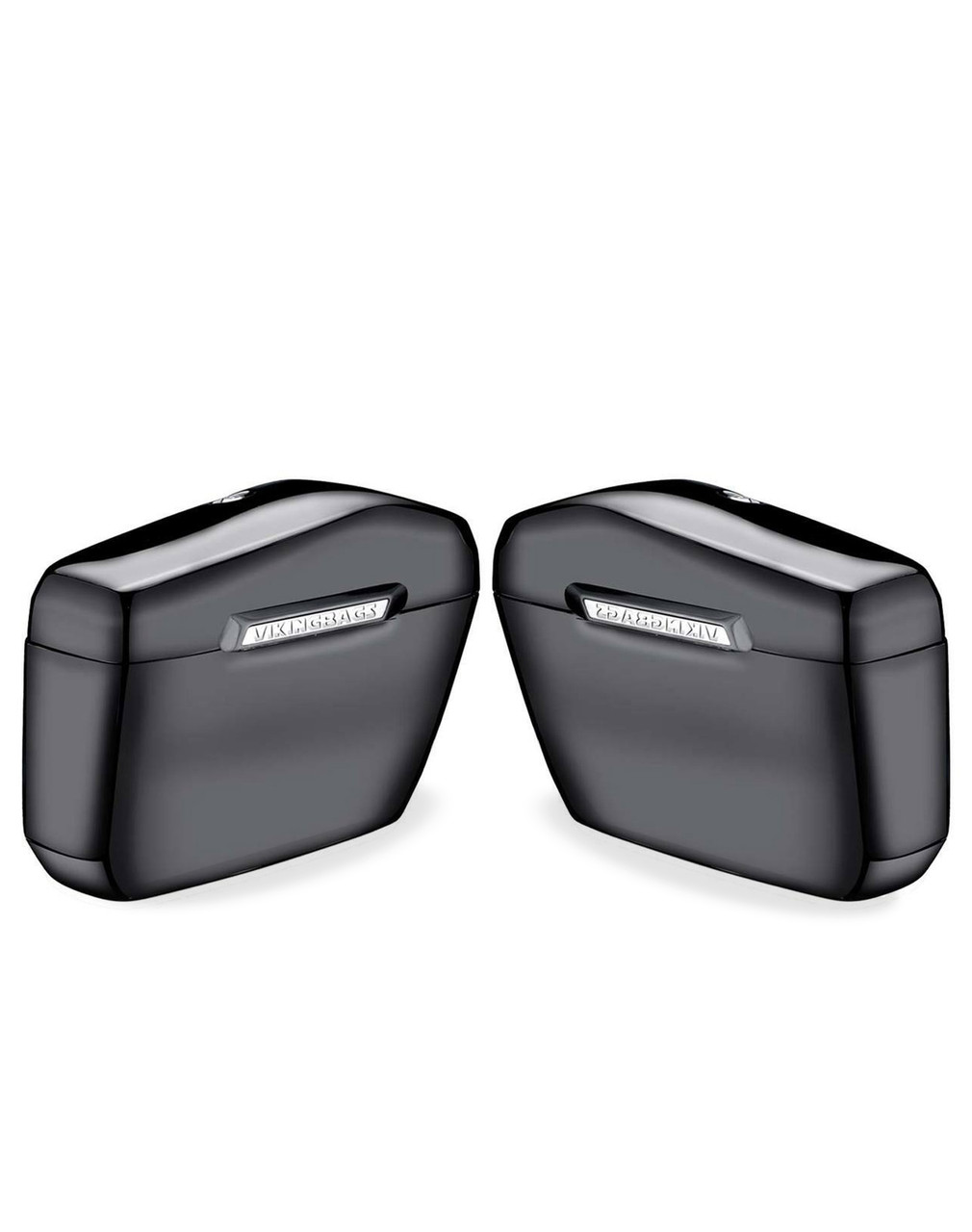 Honda 1100 Shadow Aero Viking Lamellar Large Black Hard Saddlebags Both Bags View