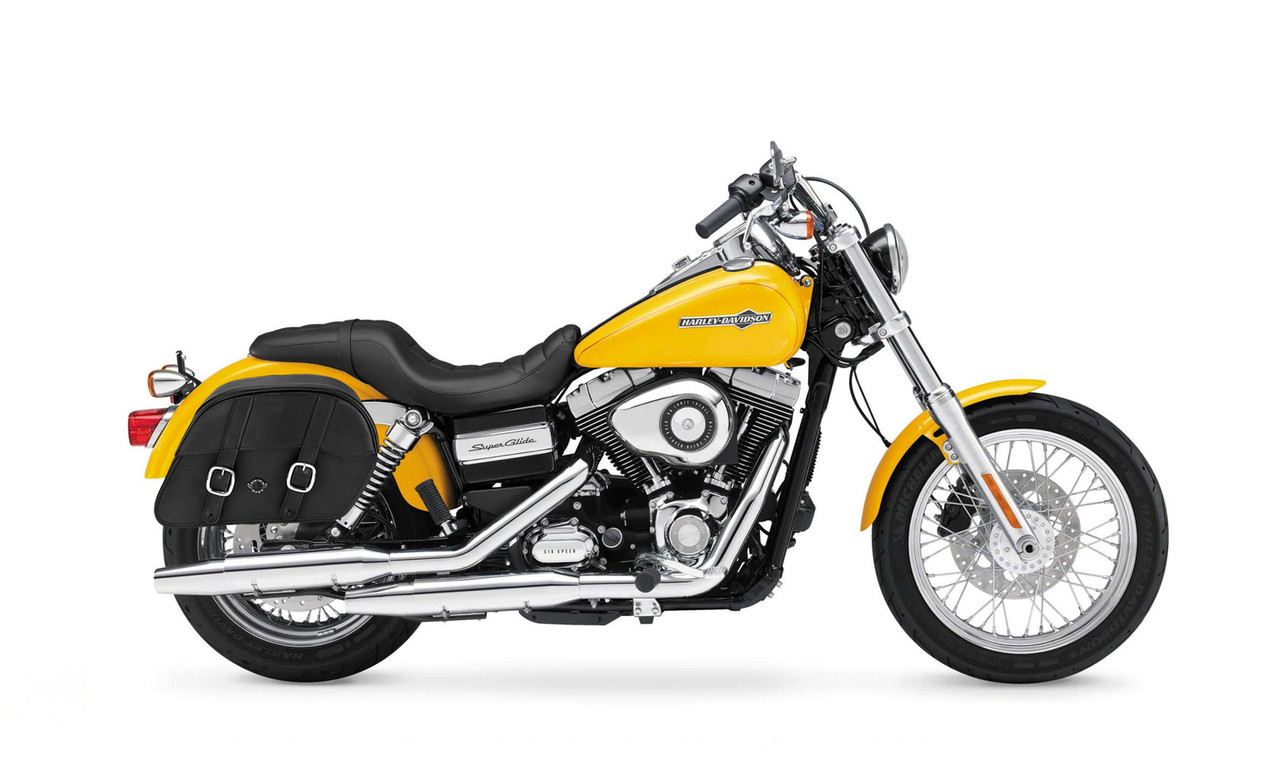 VikingBags Vital Medium Padlock Double Strap Leather Motorcycle Saddlebags Bag On Bike View
