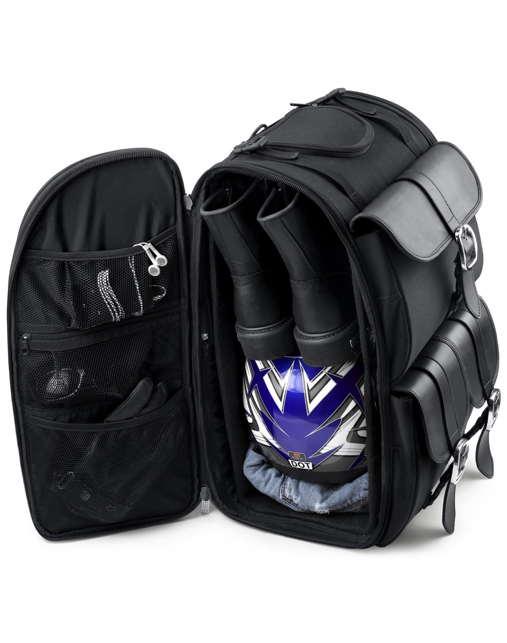 Viking Extra Large Plain Motorcycle Sissy Bar Bag Storage