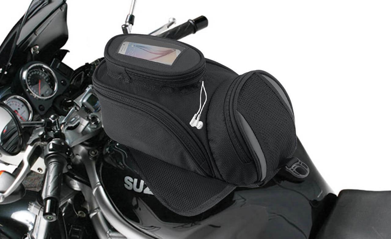 VikingBags Survival Series Large Black Street/Sportbike Tank Bag Bag on Bike View