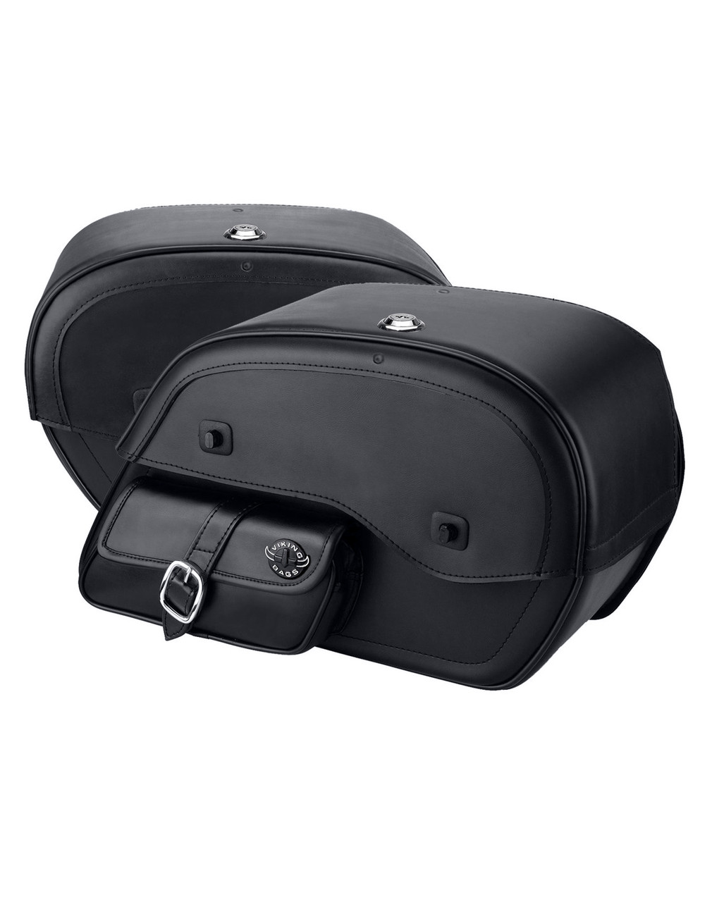 Viking Large Side Pocket Motorcycle Saddlebags For Harley Softail Custom FXSTC Both Bags View