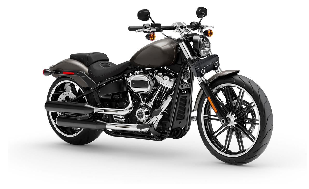 VikingBags Medium Universal Studded Motorcycle Tool Bag on Bike View