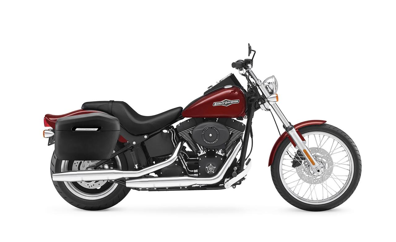 VikingBags Lamellar Blood Rider Large Leather Wrapped Motorcycle Hard Saddlebags Bag on Bike View