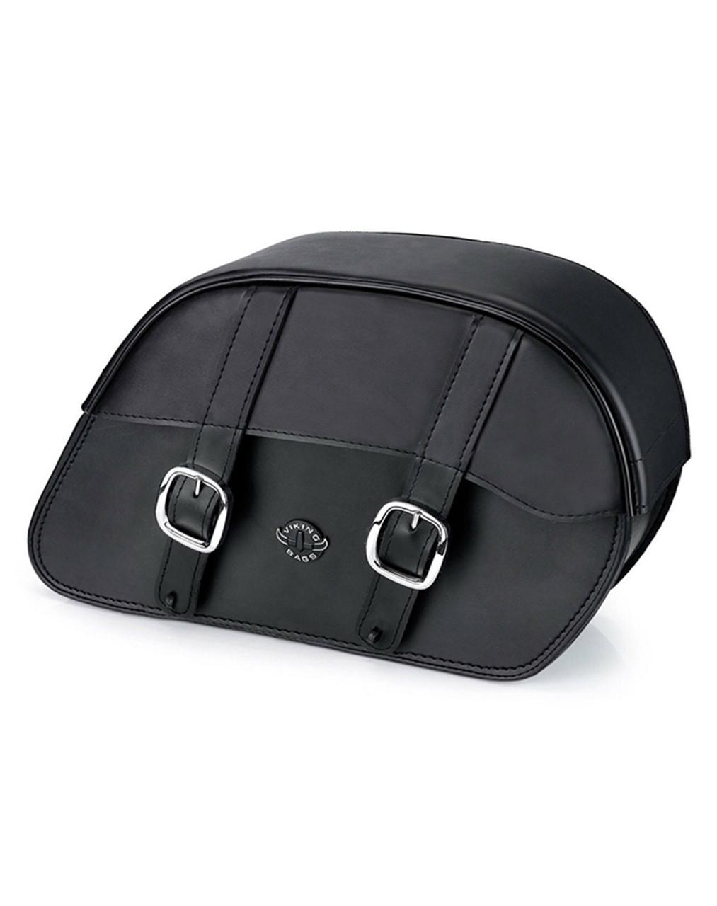 VikingBags Vital Large Padlock Double Strap Leather Motorcycle Saddlebags Main Bag View