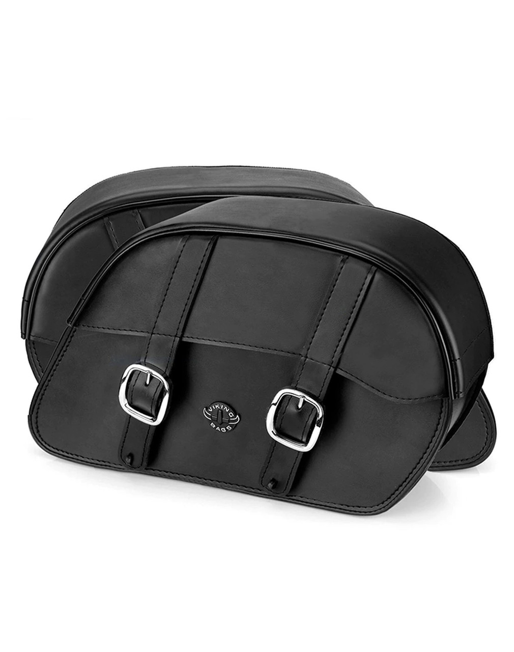 VikingBags Vital Large Padlock Double Strap Leather Motorcycle Saddlebags Both Bags View