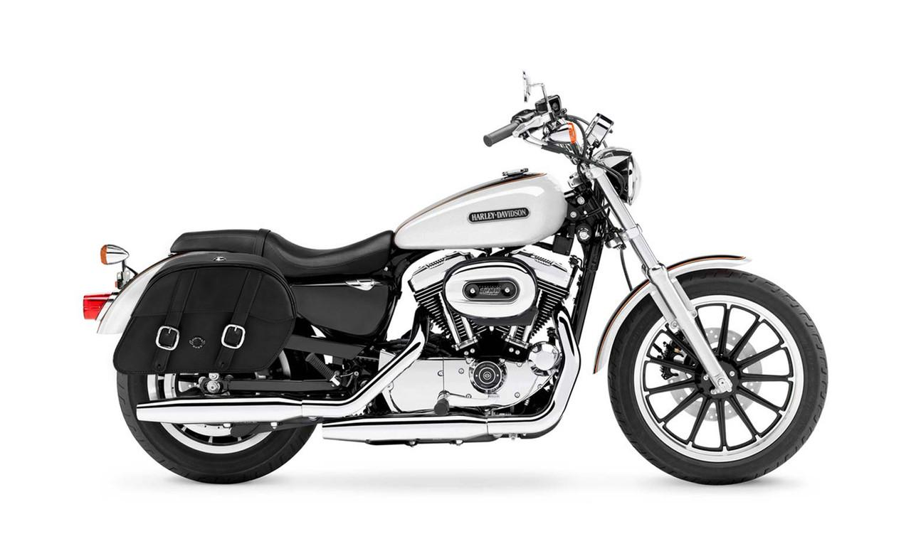 Viking Large Shock Cutout Slanted Motorcycle Saddlebags For Harley Sportster 1200 Low XL1200L Bag on Bike View