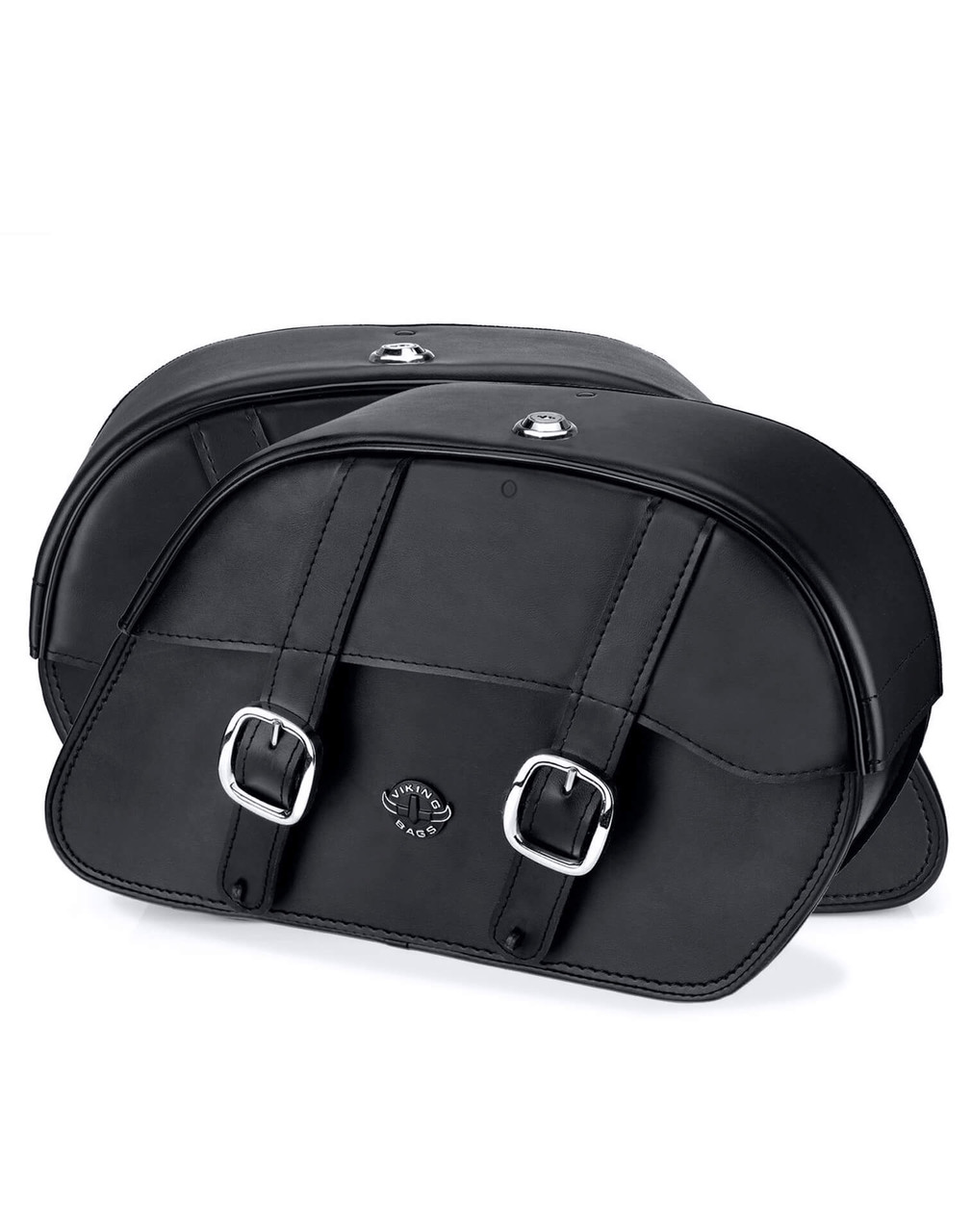 Viking Shock Cutout Slanted Large Motorcycle Saddlebags For Harley Dyna Low Rider FXDL Both Bags View