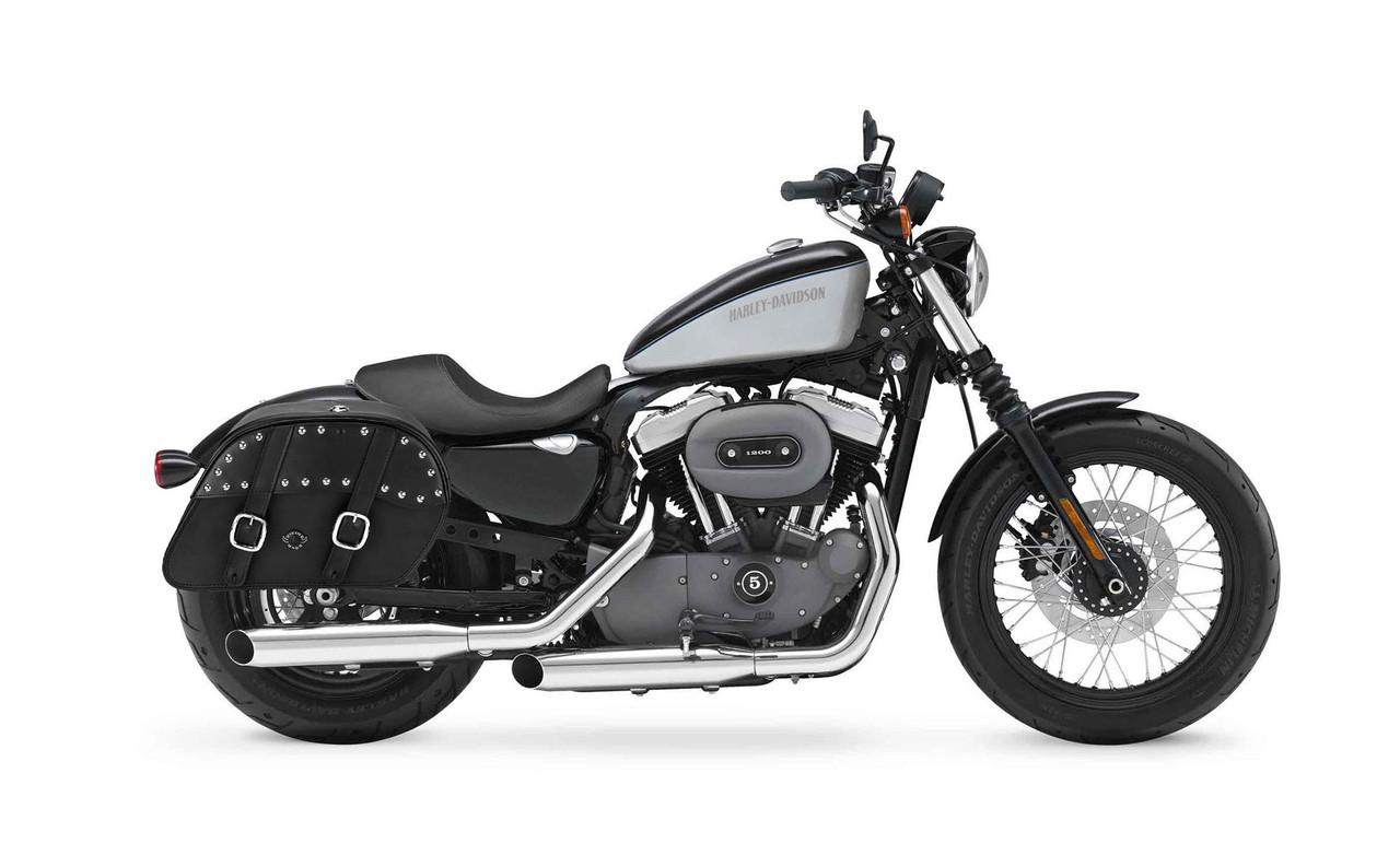 Viking Large Shock Cutout Slanted Studded Motorcycle Saddlebags For Harley Sportster 1200 Nightster XL1200N Bag on bike view