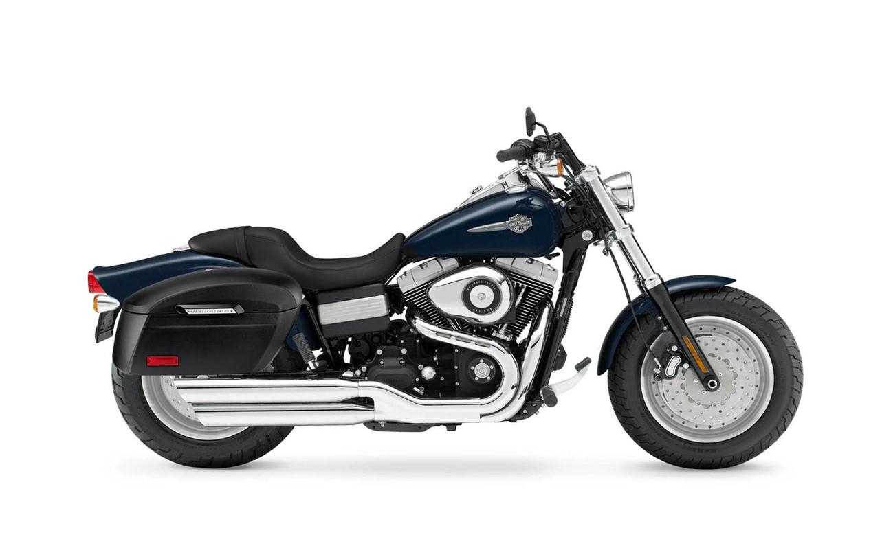 VikingBags Lamellar Vale Extra Large Shock Cutout Leather Wrapped Motorcycle Hard Saddlebags Bag on Bike View