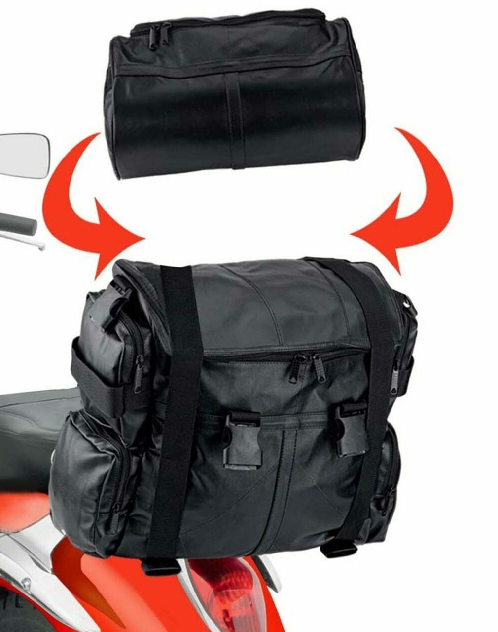 Viking Aero Medium Expandable Motorcycle Sissy Bar Bags with roll bag