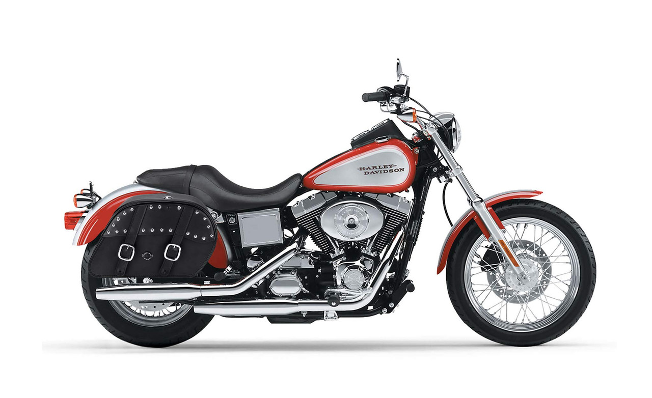 Viking Shock Cutout Slanted Studded Large Motorcycle Saddlebags For Harley Dyna Low Rider FXDL Bag On Bike View