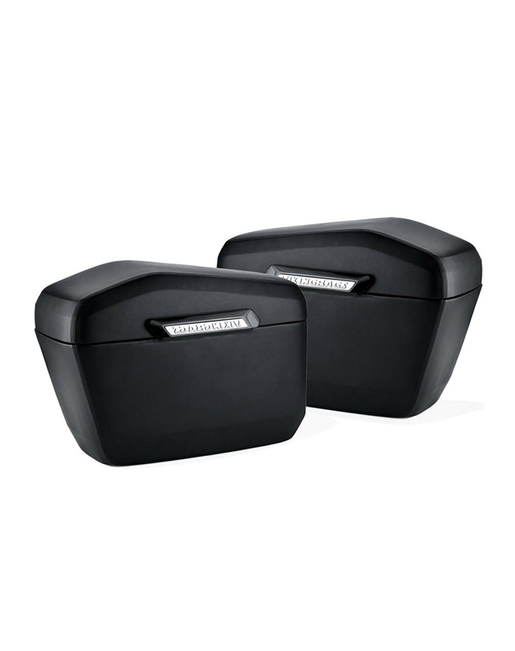 Viking Lamellar Large Leather Covered Hard Saddlebags For Harley Dyna Low Rider FXDL Both Bags View