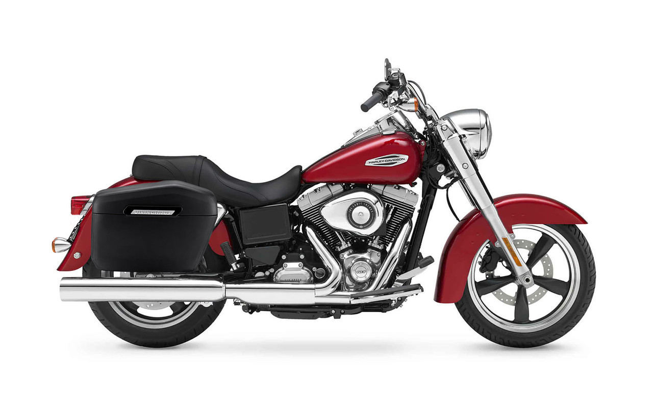 Viking Lamellar Large Leather Covered Hard Motorcycle Saddlebags For Harley Dyna Switchback Bag on Bike View