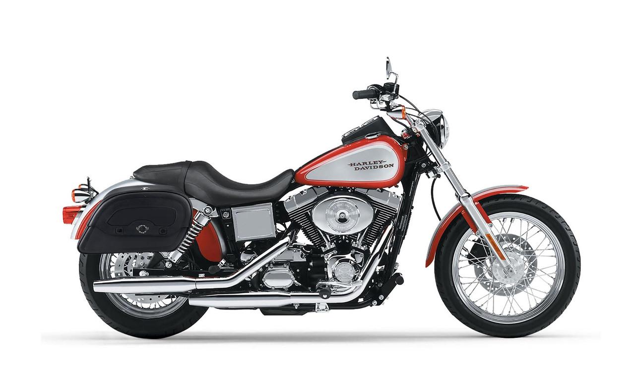 Viking Warrior Series Medium Saddlebags For Harley Dyna Low Rider FXDL Bag On Bike View