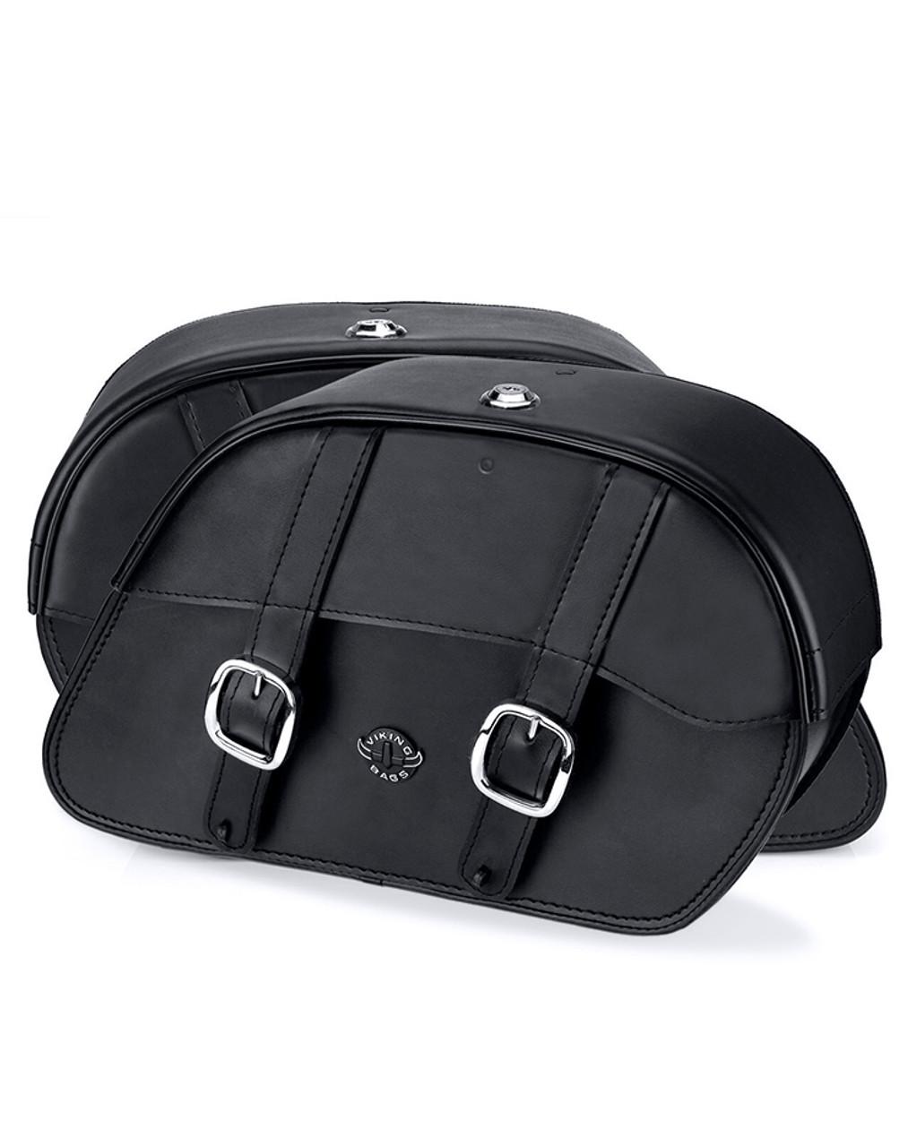 VikingBags Skarner Large Double Strap Honda 1100 Shadow Aero Leather Motorcycle Saddlebags Both Bags View