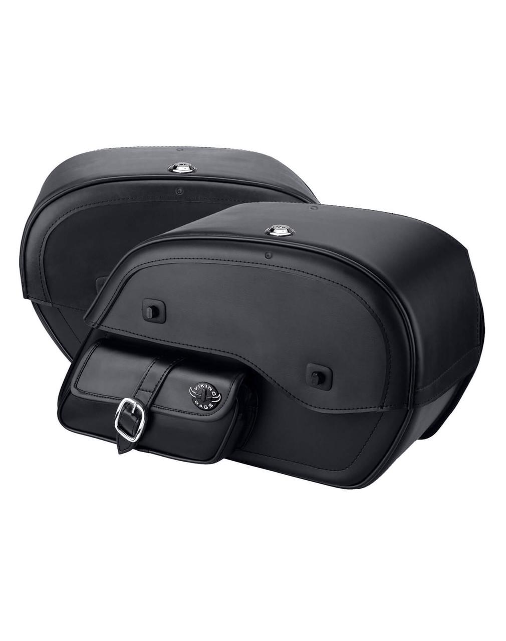 Honda Magna 750 Charger Side Pocket With Shock Cutout Motorcycle Saddlebags both bags view