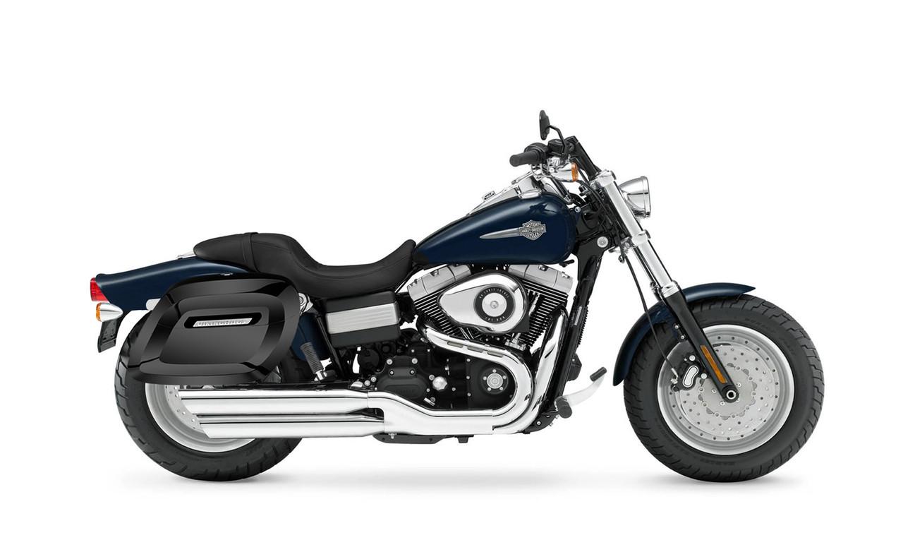 VikingBags Lamellar Raven Large Shock Cutout Painted Motorcycle Hard Saddlebags Bag on Bike View