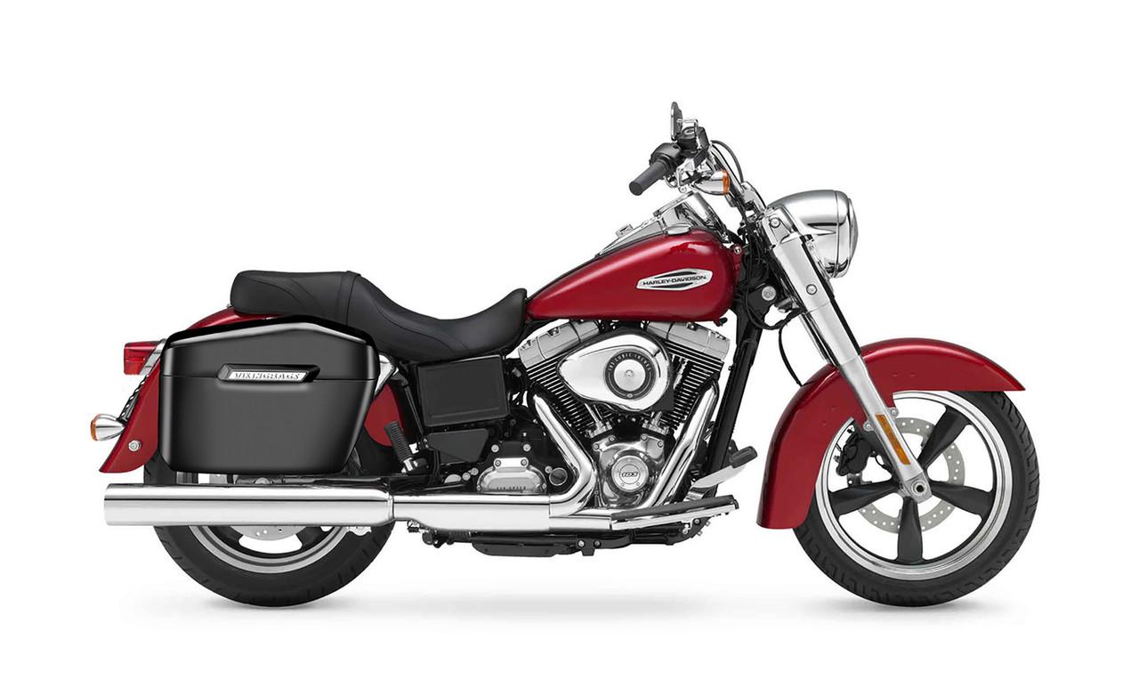 Viking Lamellar Large Black Hard Motorcycle Saddlebags For Harley Dyna Switchback Bag on Bike View