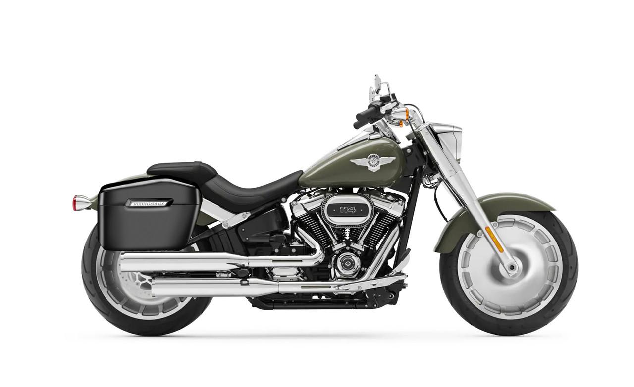 Viking Lamellar Large Black Hard Saddlebags For Harley Softail Fatboy FLSTF Bag on Bike View