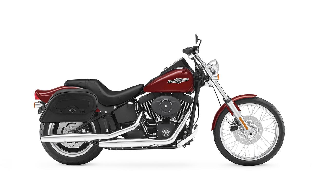 VikingBags Warrior Slanted Large Padlock Leather Motorcycle Saddlebags Bag On Bike View