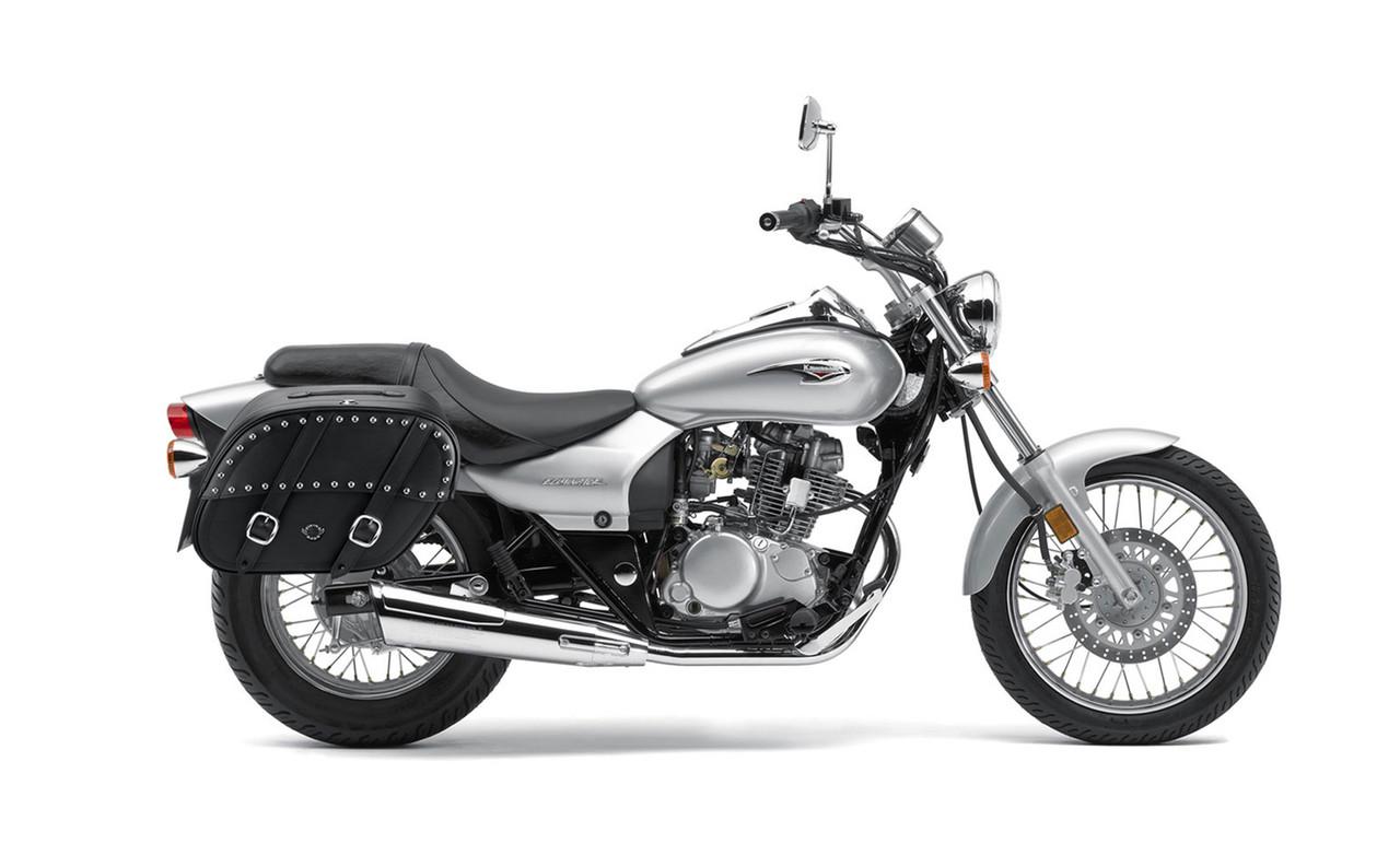 Kawasaki Eliminator 125 Shock Cut Out Studded Large Motorcycle Saddlebags Bag on Bike View