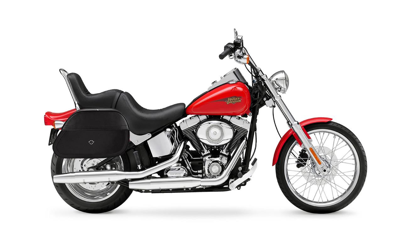 Viking Extra Large Hammer Series Motorcycle Saddlebags For Harley Softail Custom FXSTC Bag On Bike