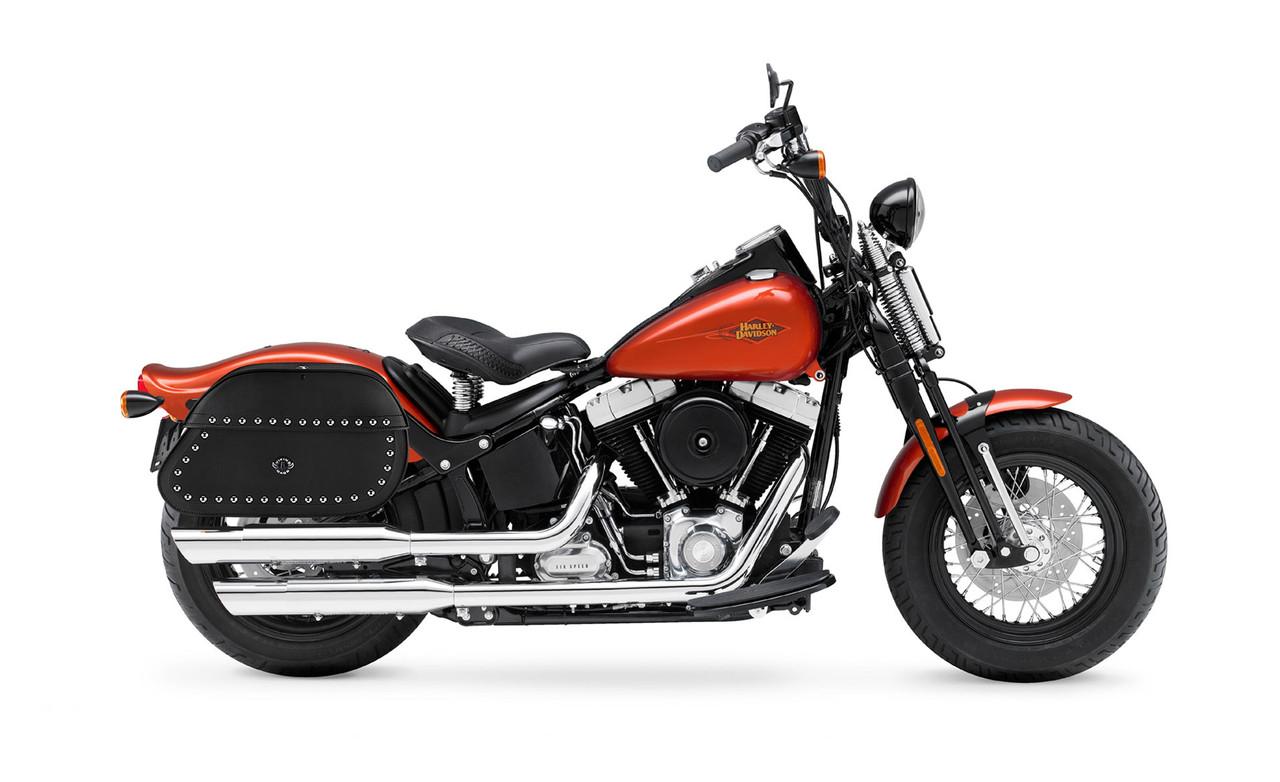 Viking Hammer Series Studded Extra Large Motorcycle Saddlebags For Harley Softail Cross Bones FLSTSB Bag On Bike View