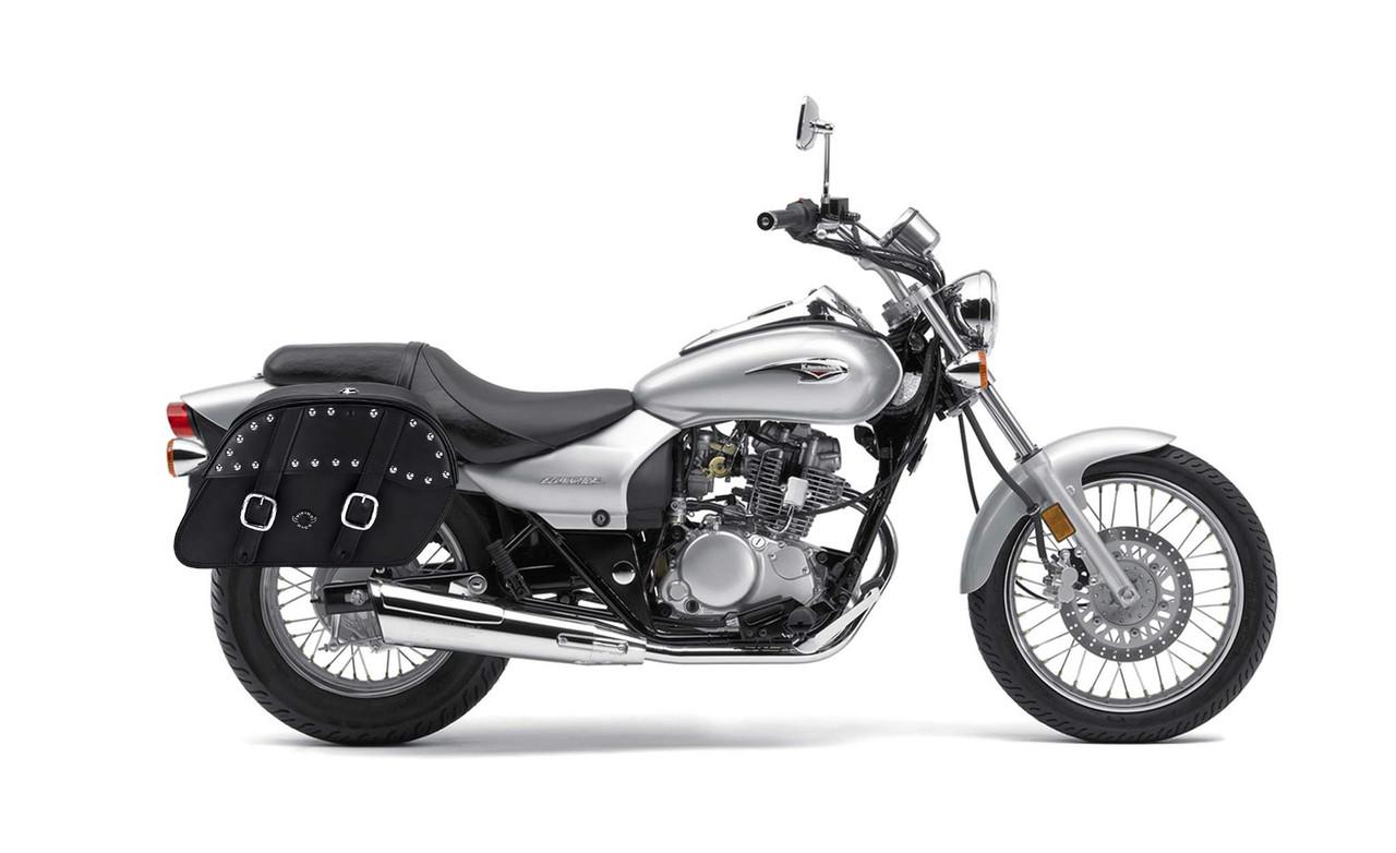 Kawasaki Eliminator 125 Shock Cutout Slanted Studded Large Motorcycle Saddlebags Bag on Bike View