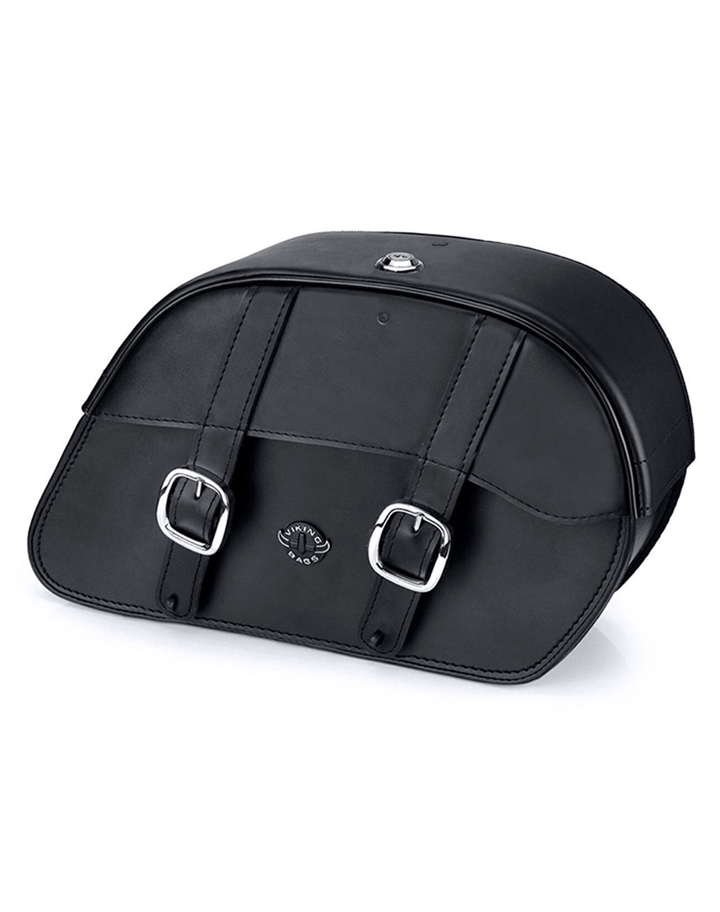 VikingBags Skarner Large Double Strap Leather Motorcycle Saddlebags For Harley Softail Night Train FXSTB Main Bag View