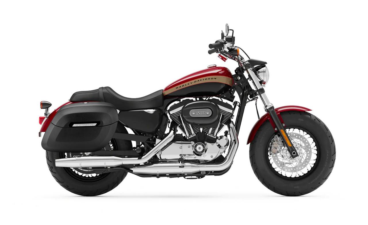 Viking Lamellar Leather Covered Shock Cutout Hard Saddlebag For Harley Sportster 1200 Custom XL1200C Bag on Bike View