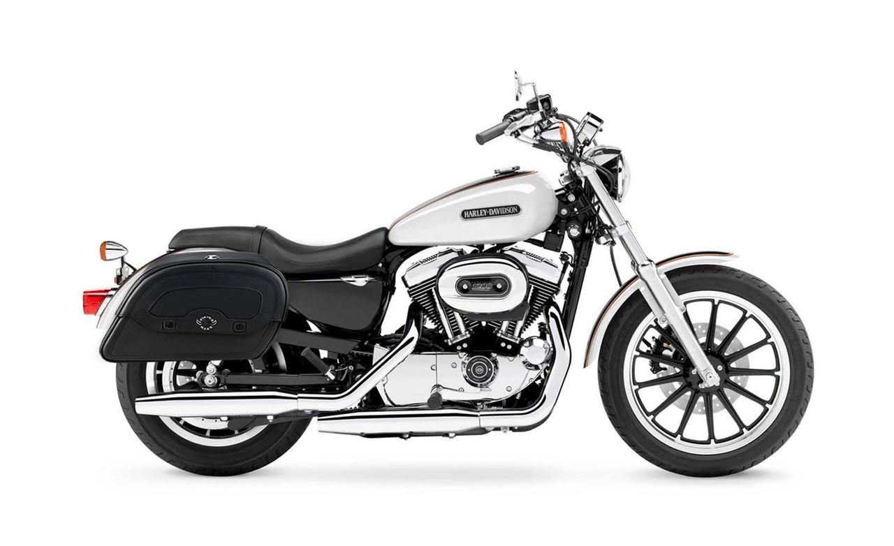 Viking Large Shock Cutout Warrior Slanted Motorcycle Saddlebags For Harley Sportster 1200 Low XL1200L Bag On Bike View