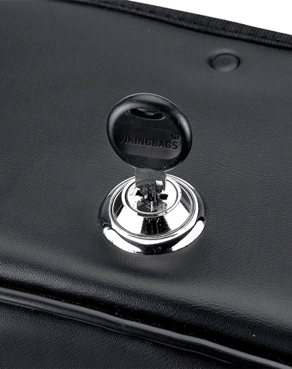 Honda 750 Shadow Phantom Large Shock Cutout Slanted Studded Motorcycle Saddlebags lock key view