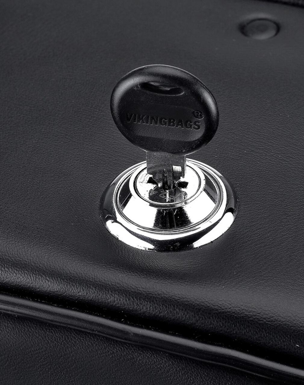 Honda 750 Shadow Phantom Large SS Shock Cutout Slanted Studded Motorcycle Saddlebags lock key view