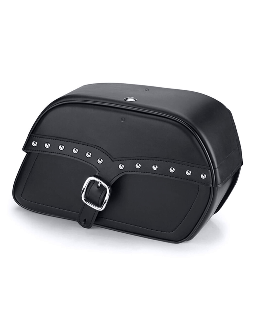 Viking Charger Single Strap Studded Large Motorcycle Saddlebags For Harley Softail Springer FXSTS Main Bag View