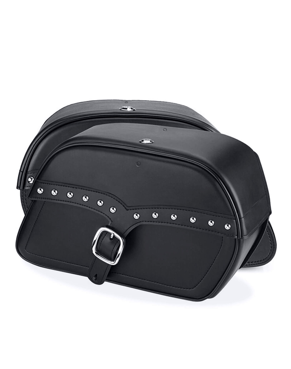 Viking Charger Single Strap Studded Large Motorcycle Saddlebags For Harley Softail Springer FXSTS both bags view
