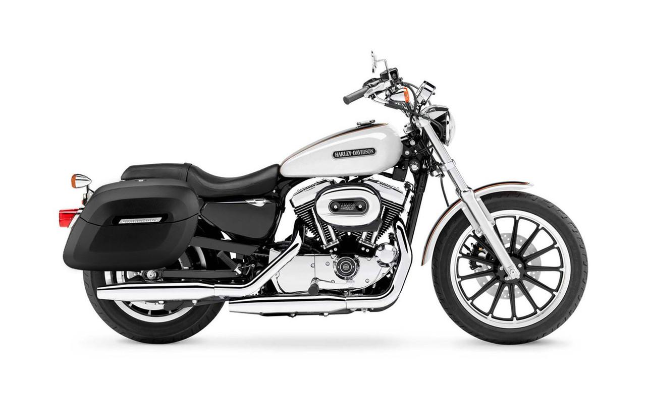 Viking Lamellar Leather Covered Shock Cutout Hard Saddlebag For Harley Sportster 1200 Low XL1200L Bag on Bike View