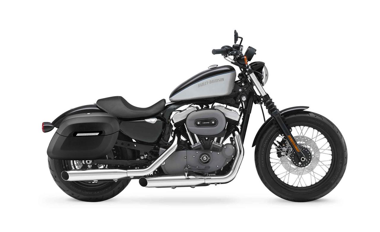 Viking Lamellar Leather Covered Shock Cutout Large Hard Saddlebag For Harley Sportster 1200 Nightster XL1200N Bag on bike view