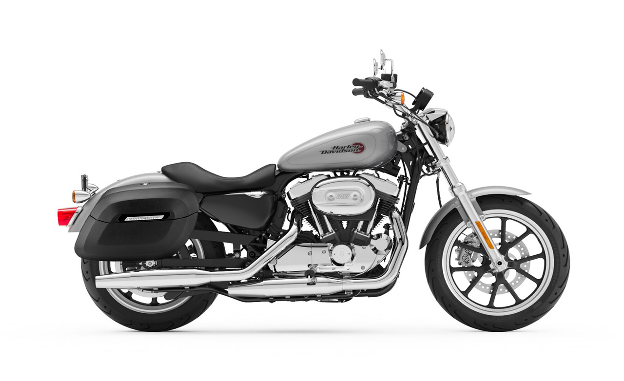 Viking Lamellar Leather Covered Shock Cutout Hard Large Motorcycle Saddlebags For Harley Sportster Superlow Bag on Bike View