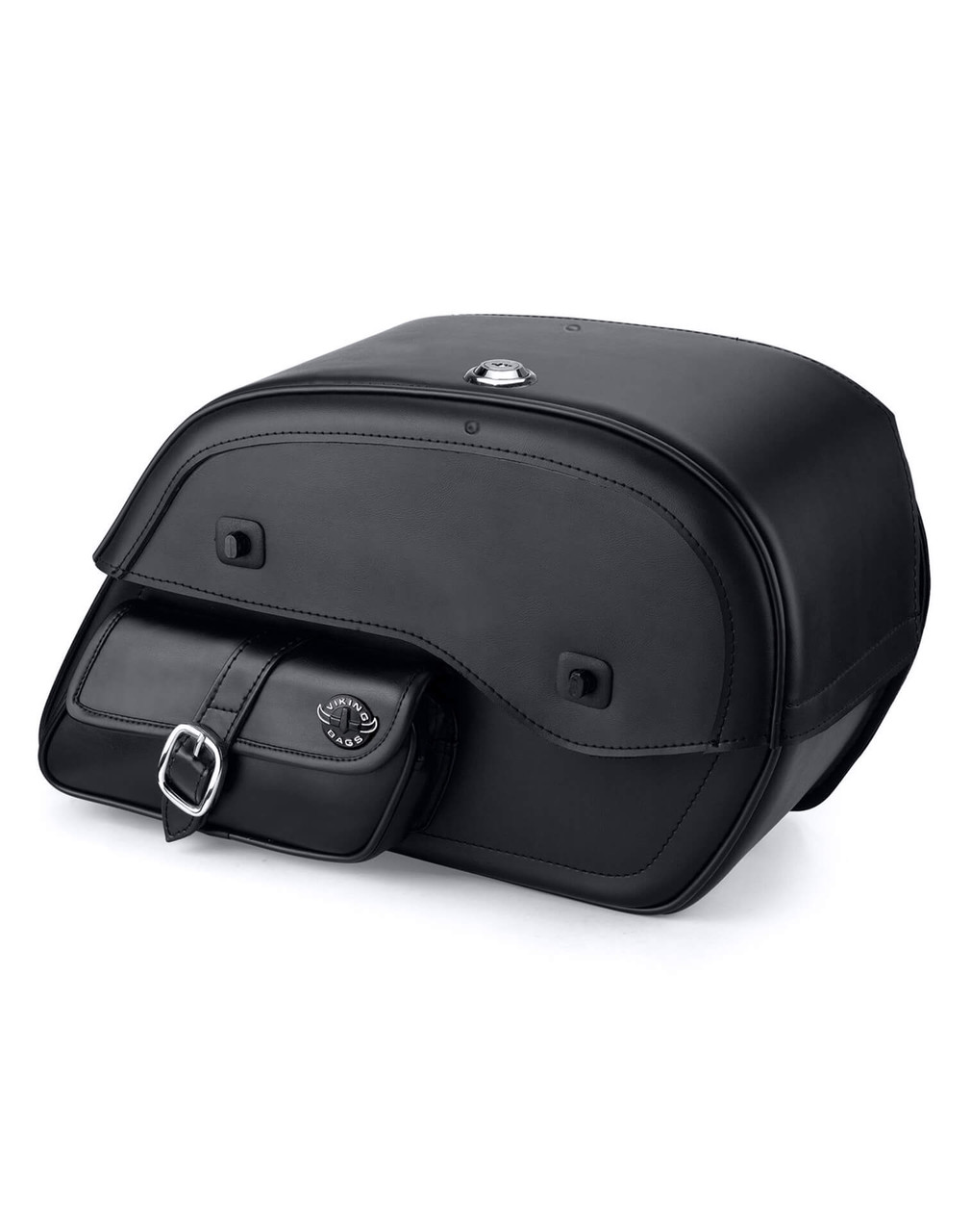 Viking Charger Side Pocket Large With Shock Cutout Motorcycle Saddlebags For Harley Dyna Low Rider FXDL Main Bag View