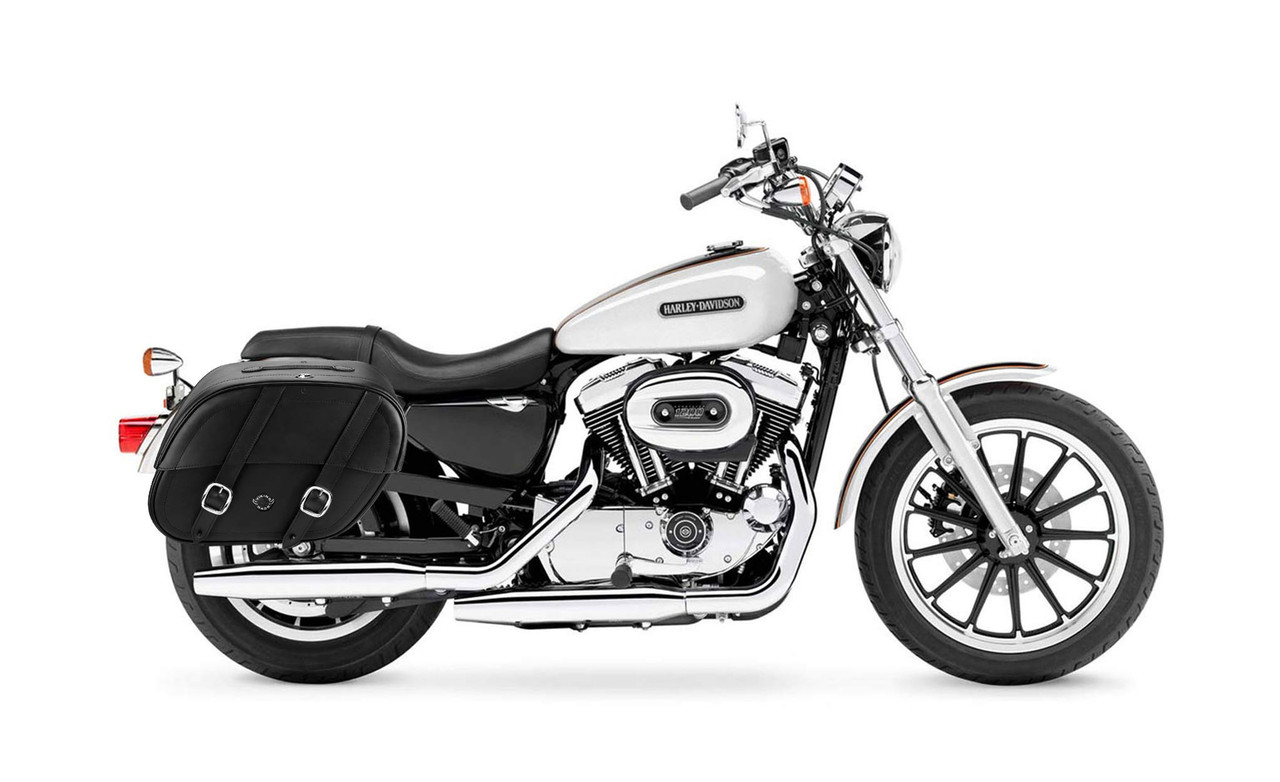 Viking Large Shock Cutout Motorcycle Saddlebags For Harley Sportster 1200 Low XL1200L Bag on Bike View